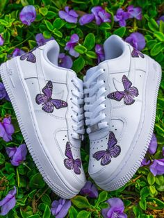 Each individual pair is handcrafted to orderNot paintedBrand new with boxFinal Sale. Non refundable/ No Exchanges.Turn around time weeks + Shipping Time(subject to change without notice depending on order volume) This is a specialty. Cute Nike Shoes, Cute Nikes, Cute Sneakers, Purple Nike Shoes, Converse Sneakers, Jordan Shoes Girls, Girls Shoes, Butterfly Shoes, Purple Butterfly