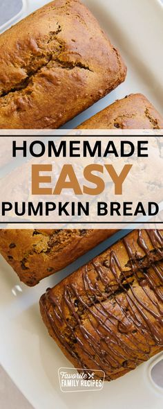 We simply love this Pumpkin Bread. It is easy to make and it ALWAYS comes out perfect. This is a great recipe to get the kids involved because it is so easy to do. Just a few simple ingredients stirred together and you are done. No need to get out mixers or dirty any appliances, this can all be done with a mixing spoon and some measuring cups! Pumkin Recipes, Fall Recipes, Great Recipes, Pumpkin Chocolate Chip Bread, Pumpkin Bread, Easy Family Meals, Easy Meals, Puff Pastry Recipes, Sweet Pastries