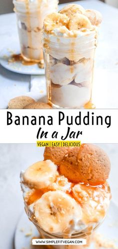 Easy no-bake vegan Mason Jar Banana Pudding makes perfect individual dessert! Its made with instant pudding for quick and easy prep. Vegan Banana Pudding, Banana Pudding Ingredients, Banana Pudding Desserts, Homemade Banana Pudding, Pudding Recipes, Healthy Vegan Dessert, Cake Vegan, Vegan Dessert Recipes, Vegan Sweets