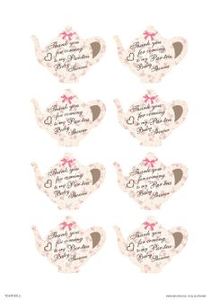 Free Printable #Tea #Party Thank You Cards. Click for more tea party baby shower ideas and more free printables.