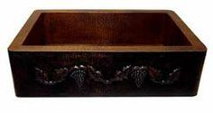 Hammered Farmhouse Copper Kitchen Sink Single Bowl Flower Design (33, 35 inch, Multiple Colors, 16 Gauge) $999.00