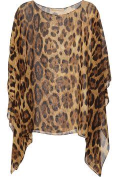 Michael Kors' Oversized leopard print silk chiffon top- yes please!