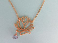 18kt Gold Lotus Flower Necklace with Purple by AshleyTorreyDesigns, $25.00