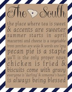 The South - South Carolina 8x10 print - Choose Your Color