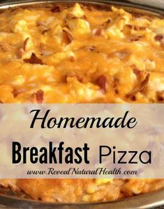 Breakfast and pizza go great together with this combination of breakfast foods and cream cheese on a pizza crust.