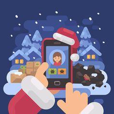 Have you been good this year? #flat #design #flatdesign #vector #illustration #character #graphicdesign #christmas #xmas #newyear #2018 #santa #santaclaus #naughtyornice #checkingittwice #winter #december #season #child #holiday #greetingcards #celebration #girl #kid #smartphone #technology #modern #social #app #like
