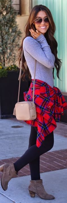 Red Multi Waist Tied Checkered Button Down