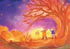 S1004 Lampionnenbos | Seizoenen | Atelier Exler Blackboard Drawing, Chalkboard Drawings, Chalk Drawings, Waldorf Montessori, Waldorf Kindergarten, Waldorf Crafts, Waldorf Toys, Autumn Nature, Autumn Day