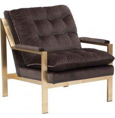 Cameron Arm Chair, Brown Velvet - Furniture - Chairs - Fabric