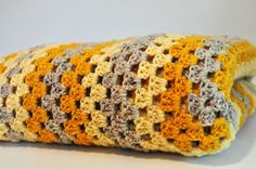 Vintage Retro Crochet Blanket Afghan Yellow Gold Gray by Continual, $32.00