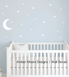 Moon and Stars Decal  Nursery Star Wall Decal by AmberMooreDesigns