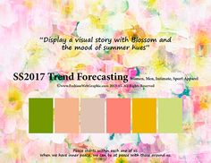 SS/2017 trend forecasting for Women, Men, Intimate, Sport Apparel - Display a visual story with Blossom and the mood of summer hues