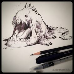 Its been hotter than a Spotted Chimbertooth's mouth out on the plains these days. #inksketch #hot #creature