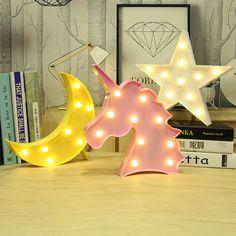 Moon Cactus Cloud Nachtlampje 3D Luminaria Eenhoorn Star Led Lamp Nachtlampje Marquee Brief Gift Speelgoed Slaapkamer Decor Voor Kids Baby