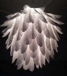 My latest light shade made from handcut paper feathers