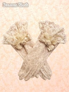 Lace gloves ribbon flower charm