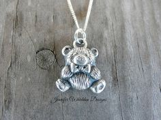 Teddy Bear Necklace Animal Necklace Sterling by JLWhiddonDesigns