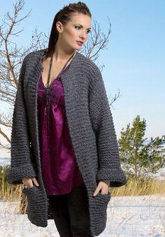 Vid og behagelig jakke i mohair, alpakka og silke. Men Sweater, Knitting, Sweaters, Cardigans, Diy, Fashion, Threading, Moda, Tricot