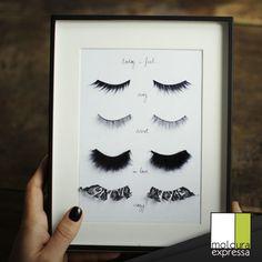 Para os amantes de maquiagem, olha só que inusitado. Cílios postiços emoldurados.