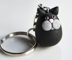 Cat Keyring Keychain, Fimo, Polymer Clay, Miniature, Animal, Cute, Accessory £6.00