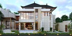 Desain Rumah Villa Bali 2 Lantai Bapak Heri Supriatianto di Bandung Bali House, House 2, Modern Exterior House Designs, Maids Room, Architectural Services, Bungalow House Design, Denpasar, Tropical Design, Facade House