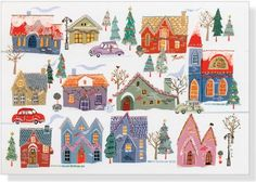 All Around Town Deluxe Boxed Holiday Cards Greeting: May your home be filled with peace and joy throughout the year.