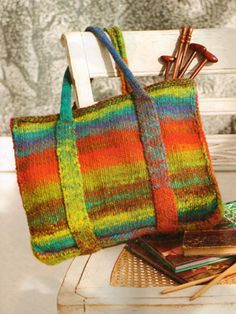 Felted tote knit with Noro yarns (2012 collection)