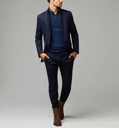 blue on blue on blue // blazer, suit, boots