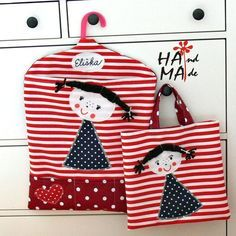 Kapsář do školky se jménem / Zboží prodejce Hama | Fler.cz Fabric Bags, Fabric Scraps, Image Deco, Applique, Sewing Magazines, Sewing To Sell, Pinterest Crafts, Quilted Bag, Kids Bags