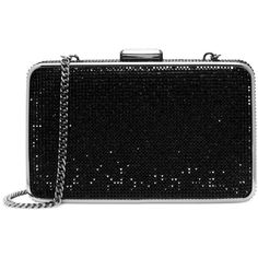 MICHAEL Michael Kors Elsie Crystal Box Clutch (€265) ❤ liked on Polyvore featuring bags, handbags, clutches, purses, black, michael kors, black purse, hard clutch, structured purse and black structured handbag