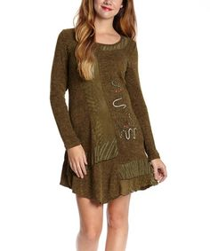 Olive Abstract Wool-Blend Tunic #zulily #zulilyfinds