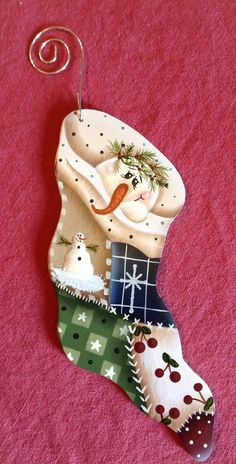 Snowman Snuggled in Stocking hand painted by Bronsonscraftsnsuch, $5.50
