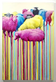 Russ Noto - Process Grouping 1.1 - Oil on Canvas  !!! CMYK and SHEEP!? My worlds colliding!