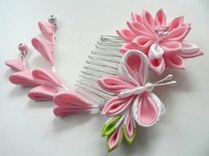 Pink Lily And Butterfly Fabric Flower Hair Comb by MizuSGarden