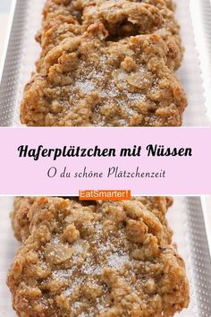 Schnelle Plätzchen: Haferplätzchen mit Mandeln und Walnüssen These nutty cookies are made quickly: Oatcakes with almonds and walnuts are crunchy, sweet and yummy. Also perfect as a gift Quick Cookies, Oat Cookies, Sugar Cookies, Evening Meals, Food Items, Cookie Recipes, Food And Drink, Eat Smarter, Stuffed Peppers