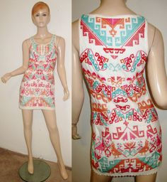 FREE PEOPLE Cotton Linen Tribal Ethnic Embroidered Lace Up Sleeveless Dress 4