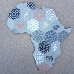 Hexagon Tile Africa Collage Medium Size - in height Unique & hand made gifts from South Africa Collage Making, Hexagon Tiles, Unique Gifts, Handmade Gifts, Mosaics, Collages, South Africa, Medium, Design