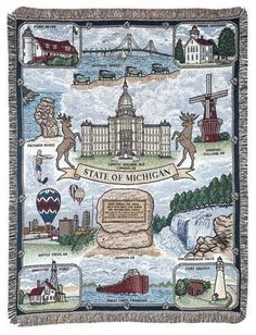 State of Michigan Tapestry Throw Blanket - With Love Home Decor