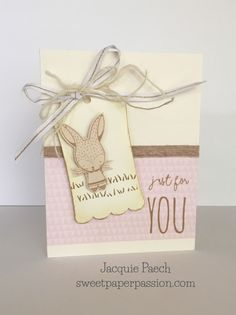 Sweet bunny card by Jacqueline Peach. SOTM Feb 2017