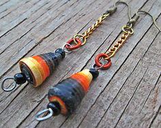 Mauve Paper Bead Earrings Paper jewelry Light by EarthChildArt