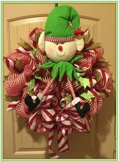 Elf Candy Cane Wreath with Bow