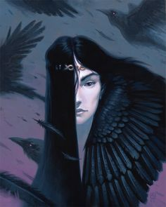 A goddess of war and death in Celtic mythology. Celtic Goddess, Goddess Art, Irish Mythology, Raven Queen, Legends And Myths, Triple Goddess, Witch Art, Character Portraits, Blue Art