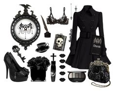 Black-like my soul... by goth-dolly on Polyvore featuring Agent Provocateur, Iron Fist, ASOS, Sephora Collection, Hervé Gambs, Forever 21, Manic Panic, black, lace and Elegant