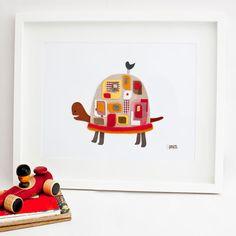 felt: http://www.etsy.com/listing/99717320/personalised-baby-gift-unframed-turtle