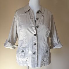Beige Light Weight Jacket Button up 3/4 sleeve light weight beige jacket.98% cotton 2% spandex CJ Banks Jackets & Coats