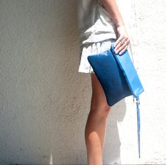 Cross Body Purse // Calf Hair Leather // Fold over Clutch Bag // Lining // Electric Blue // Birthday Nude Sandals, Blue Birthday, Leather Bags Handmade, Blue Christmas, Fall Trends, Electric Blue, Leather Clutch, Handmade Crafts, Bag Accessories