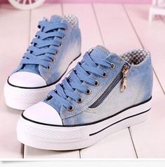 4a893230b82 Womens Round Toe Lace Up Sneakers Platform Wedge Heels Denim Canvas Shoes  Size