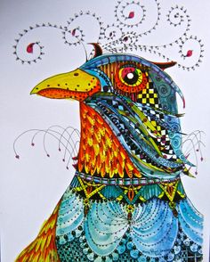 Rooster Illustration  print by mary vogel by pinkflamingo61, $20.00