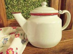 Vintage Red & White Enamelware Tea Pot