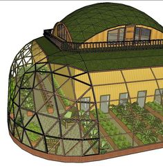 30 Geodesic Dome Ideas for Greenhouse, Chicken Coops, Escape Pods, etc. – Popular Posts Semi-geodesic dome house with a green roof and surrounding porch Interior Tropical, Geodesic Dome Homes, Geodesic Dome Greenhouse, Earthship Home, Earthship Design, Greenhouse Shed, Greenhouse Gardening, Casas Containers, Dome House